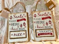 SWEET SHABBY CHIC 'NAUGHTY OR NICE' WOODEN SIGNS